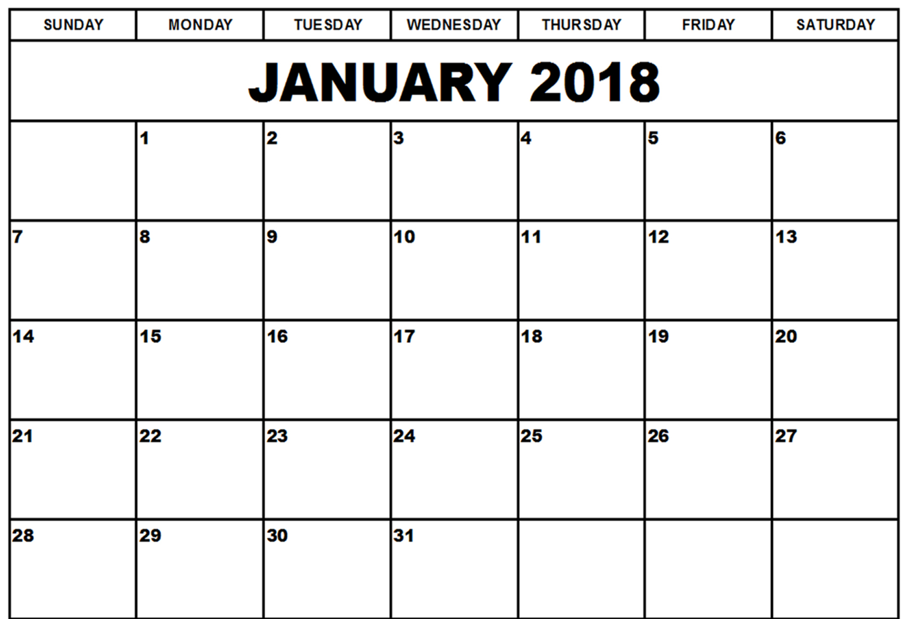 2018 Calendars of January Month | 2017 Calendar printable for Free ...