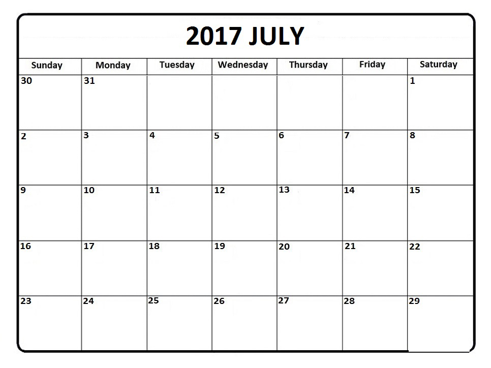 Download July 2017 monthly calendars free