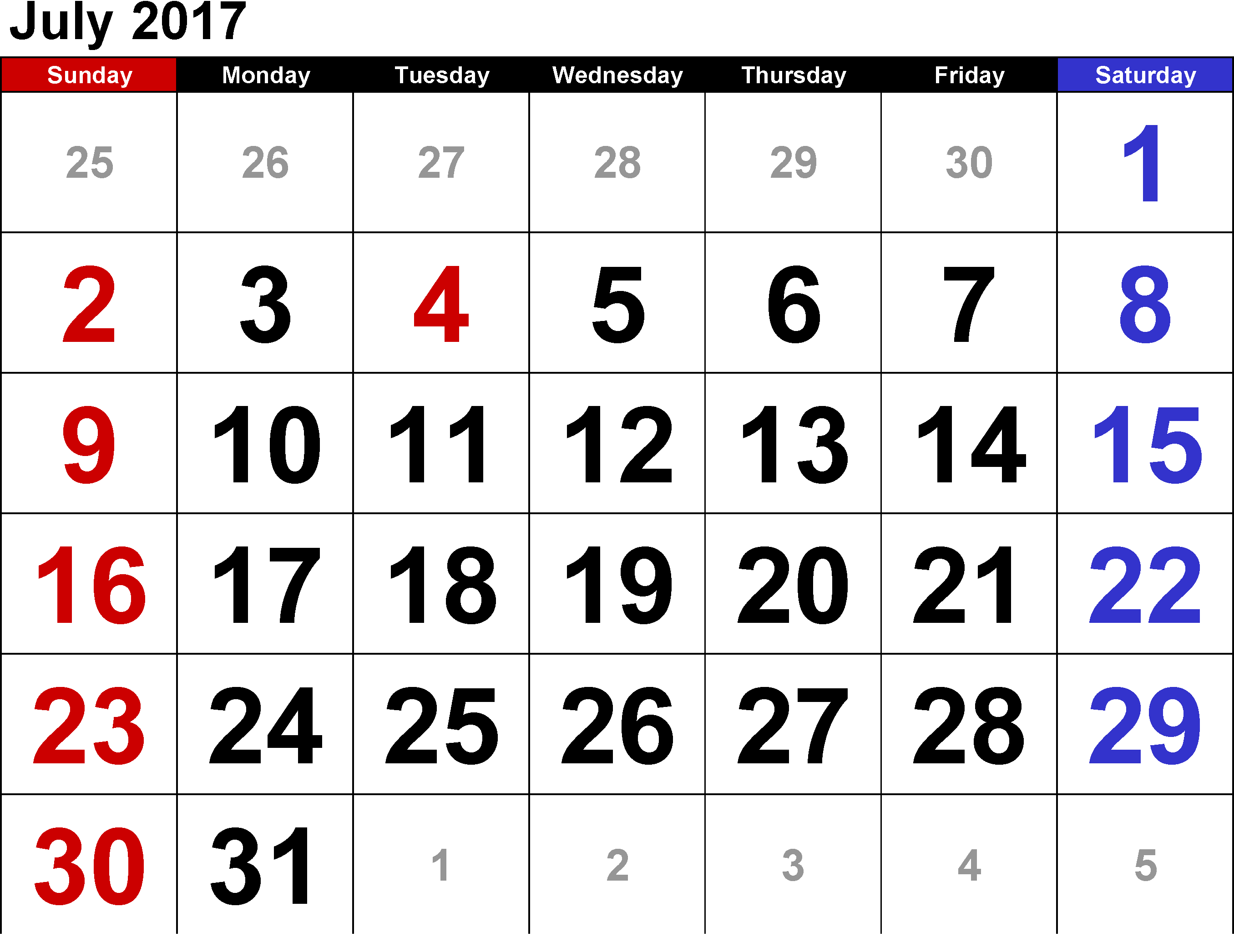Download July 2017 monthly calendars free for whatsapp