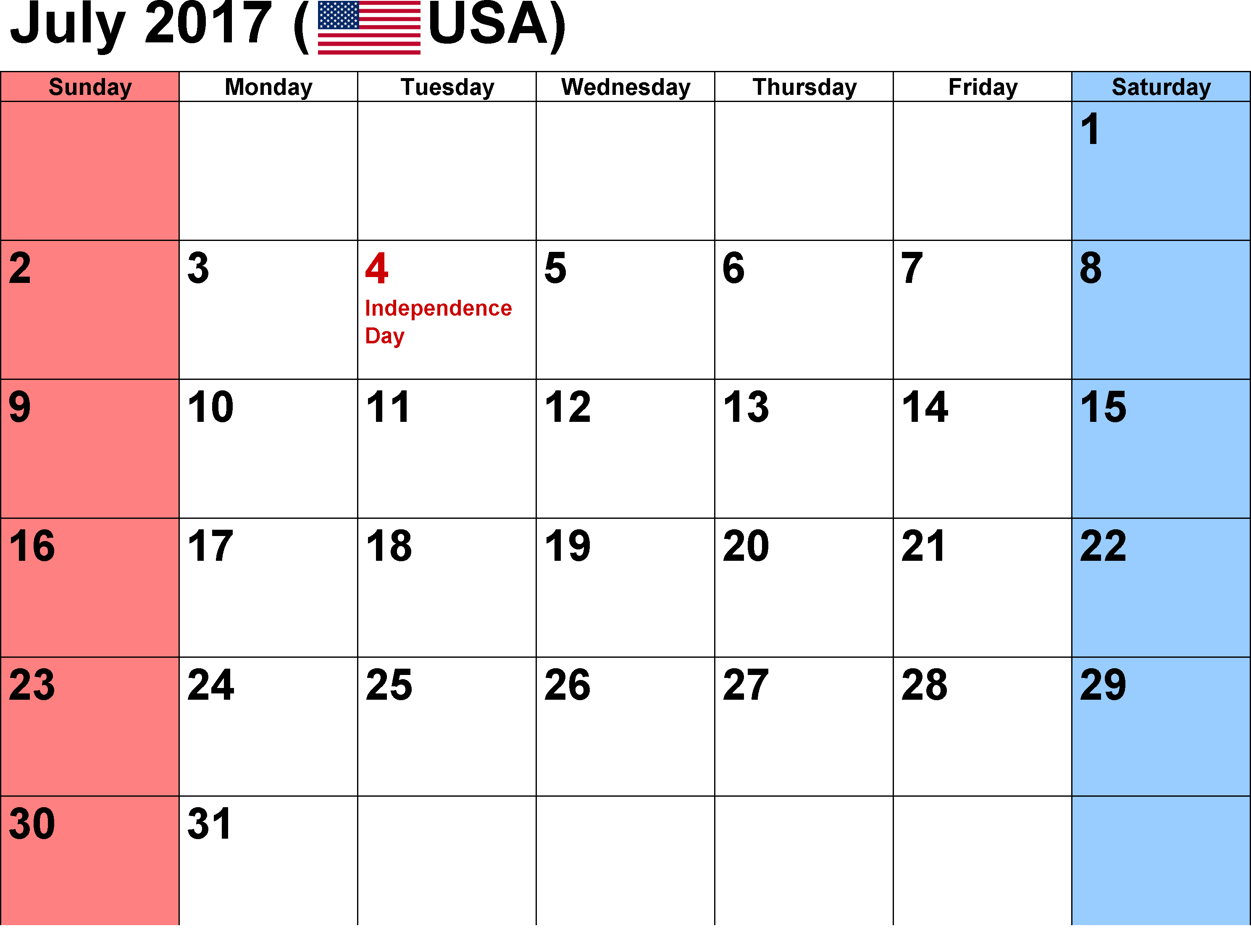 2017 July Calendar USA with holidays