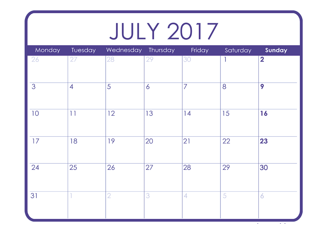 July 2017 calendar monthly