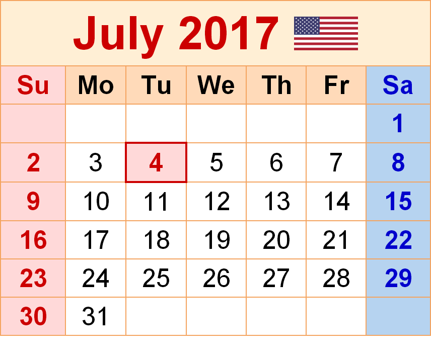 Download July 2017 calendar monthly