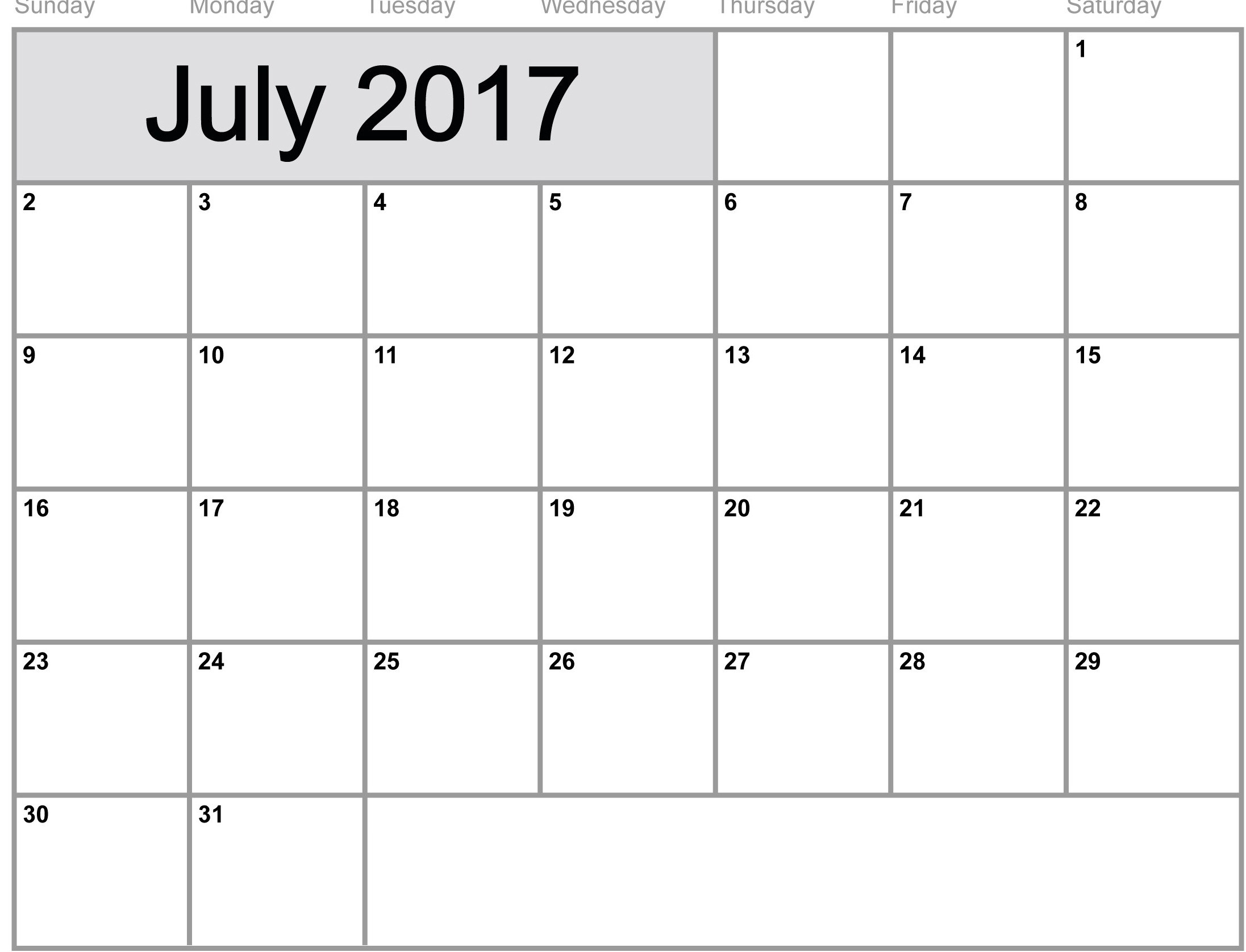 Free July 2017 calendar monthly
