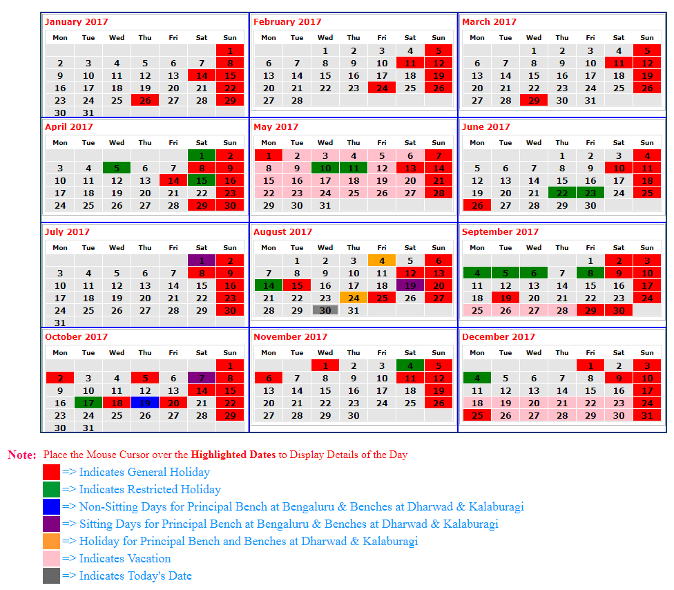 Calendar Karnataka : Karnataka highcourt calendar with holiday dates