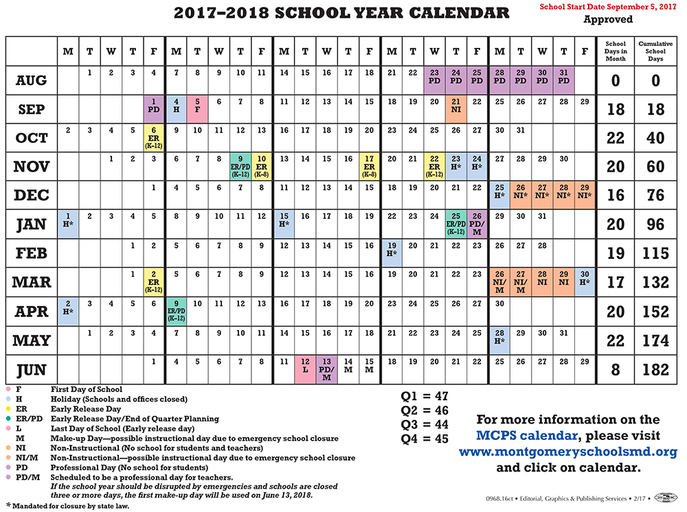 mcps calendar 2017 18 | 2017 Calendar printable for Free ...