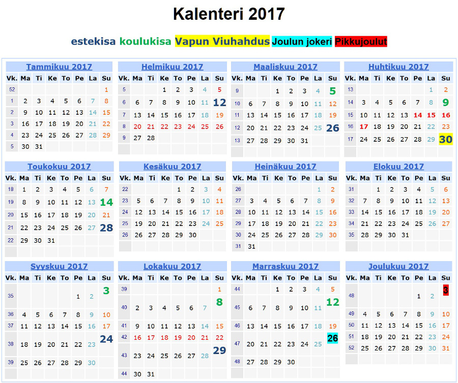 2017 Kalenteri | 2017 Calendar printable for Free Download ...