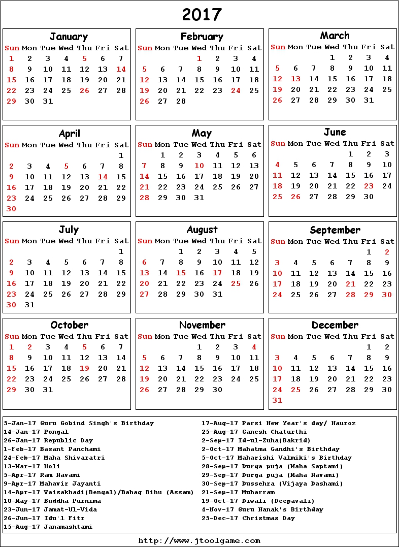Calendar With N Holidays Pdf Free Download : India calendar printable download