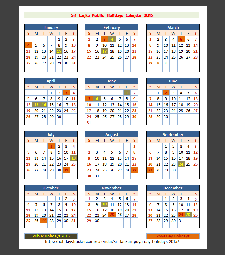 School Calendar 2018 In Sri Lanka : Download sri lanka calendar printable with public holidays