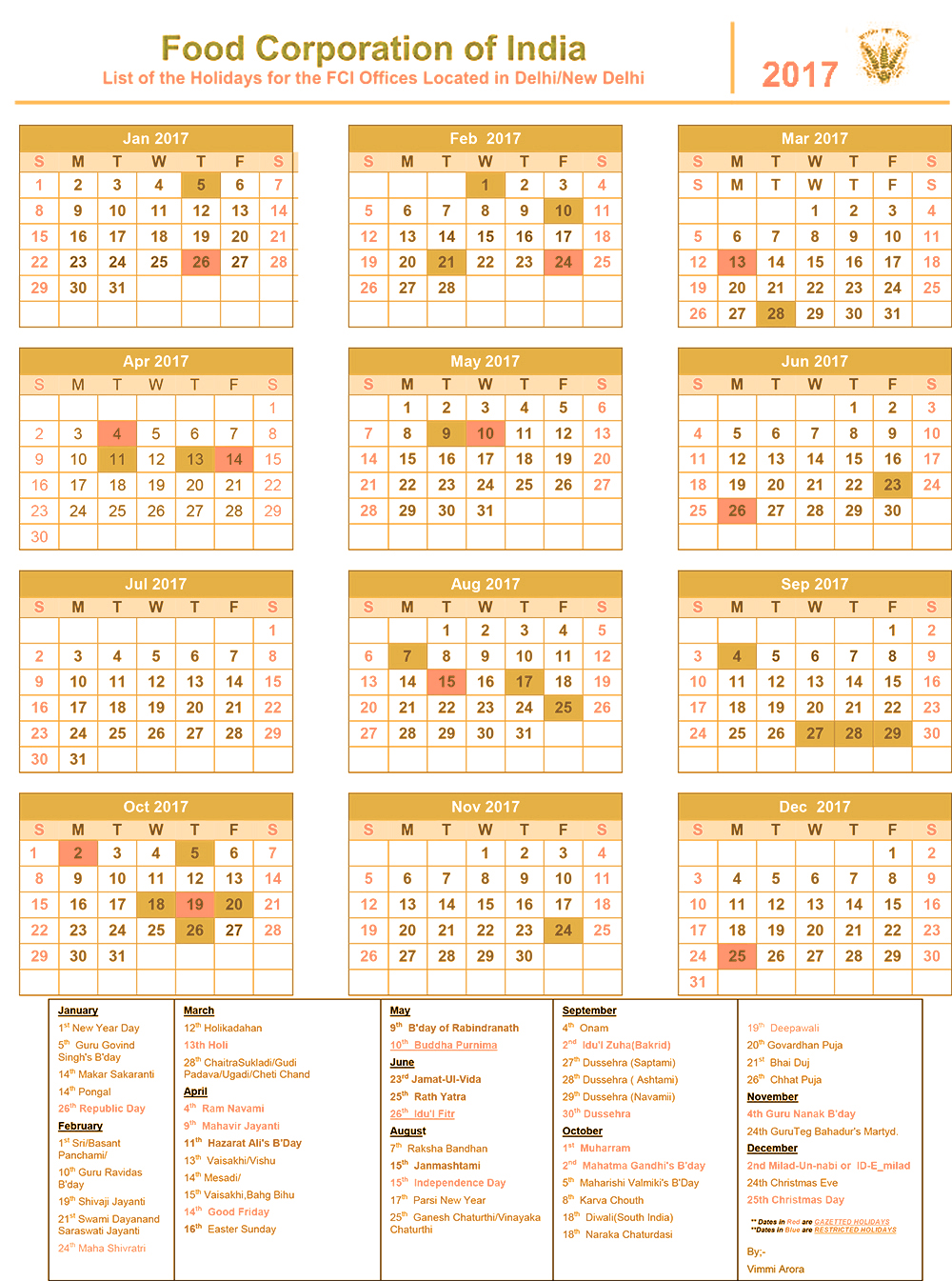 Corporate Calendar 2017 : Fci holidays calendar food corporate of india leaves