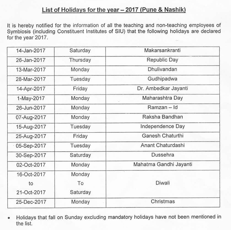 Symbiosis Pune Holiday List 2017 Calendar